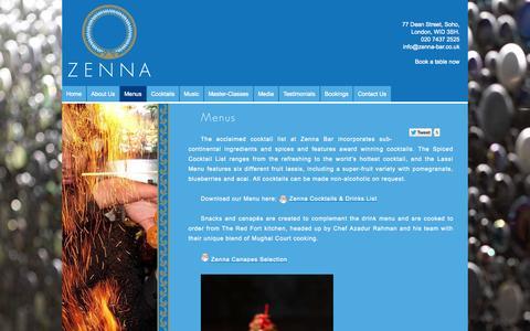 Screenshot of Menu Page zenna-bar.co.uk - Menus | Zenna - captured Sept. 26, 2014