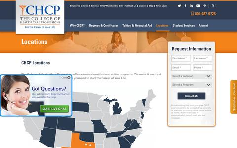 Screenshot of Locations Page chcp.edu - Locations | The College of Health Care Professions - captured Feb. 5, 2016