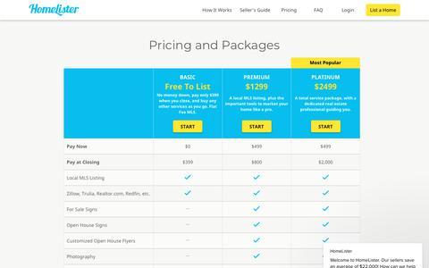 Screenshot of Pricing Page homelister.com - HomeLister says… - captured July 8, 2018