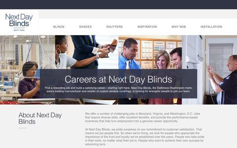 Screenshot of Jobs Page nextdayblinds.com - Next Day Blinds   Careers - captured Sept. 22, 2018