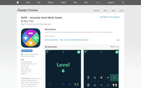 Screenshot of iOS App Page apple.com - NUM - Insanely Hard Math Game on the App Store on iTunes - captured Dec. 16, 2014