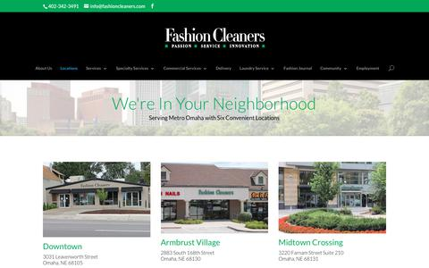 Screenshot of Locations Page fashioncleaners.com - Fashion Cleaners - Six Convenient Metro Omaha Locations - captured June 5, 2017