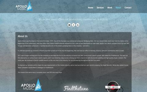 Screenshot of About Page apollomusic.dk - Apollo Music :: About Us - captured Sept. 30, 2014