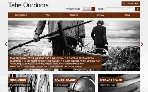 Screenshot of Home Page taheoutdoors.com - Tahe Outdoors - captured Jan. 22, 2015