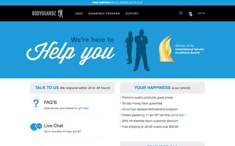 Screenshot of Contact Page Support Page bodyguardz.com - Our Customer Care | BODYGUARDZ® - captured Dec. 2, 2015