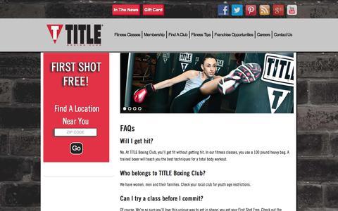 Screenshot of FAQ Page titleboxingclub.com - TITLE Boxing Club     FAQ - captured Sept. 19, 2014
