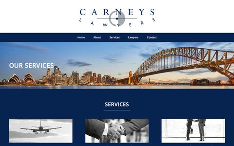 Screenshot of Services Page carneys.com.au - Services – Carneys Lawyers - captured July 15, 2017