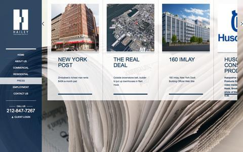 Screenshot of Press Page hdgnyc.com - Press - Hailey Development Group LLC | Hailey Development Group LLC - captured Oct. 1, 2014