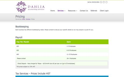 Screenshot of Pricing Page daservices.ca - Pricing « Dahlia Accounting Services - captured Feb. 8, 2016