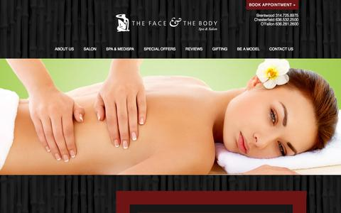 Screenshot of Locations Page faceandbodyspa.com - Locations | The Face & The Body Day Spa | Brentwood, Chesterfield & O'Fallon, MO - captured Nov. 3, 2014