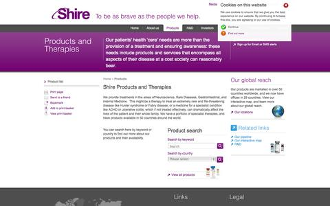 Screenshot of Products Page shire.com - Products and Therapies | Shire - captured Sept. 19, 2014