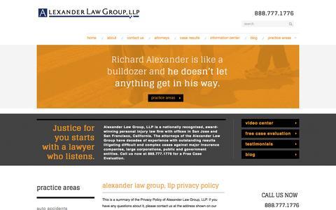 Screenshot of Privacy Page alexanderinjury.com - Alexander Law Group, LLP Privacy Policy | Alexander Law Group | San Jose | San Francisco - captured Oct. 4, 2014
