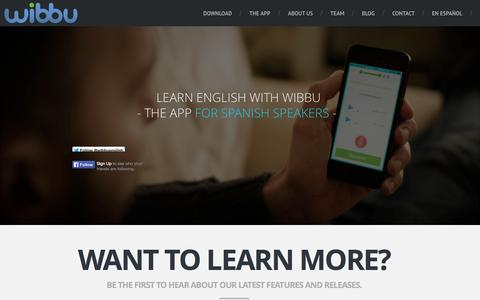 Screenshot of About Page Contact Page Team Page wibbu.com - Wibbu English app for free for Spanish speakers - captured Oct. 21, 2014