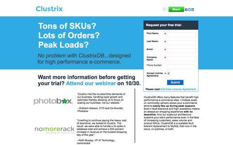 Screenshot of Landing Page clustrix.com - Tons of SKUs? Lots of Orders? Peak Loads? - captured Oct. 27, 2014