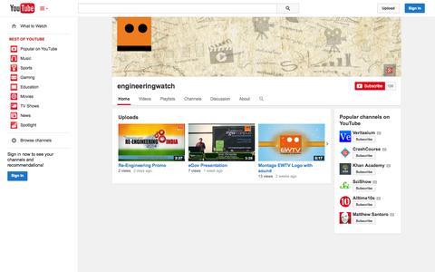 Screenshot of YouTube Page youtube.com - engineeringwatch  - YouTube - captured Oct. 23, 2014