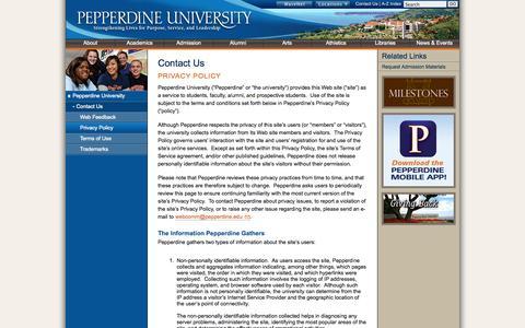 Screenshot of Privacy Page pepperdine.edu - Contact Us | Pepperdine University - captured Sept. 19, 2014