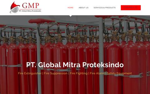 Screenshot of Home Page globalmitraproteksindo.com - PT. Global Mitra Proteksindo – Spesialis Sistem Pemadam Otomatis - captured Sept. 26, 2018