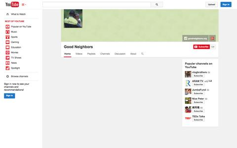 Screenshot of YouTube Page youtube.com - Good Neighbors  - YouTube - captured Oct. 25, 2014