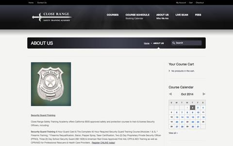 Screenshot of About Page closerangetraining.com - ABOUT US - Close Range Safety Training Academy - captured Oct. 2, 2014
