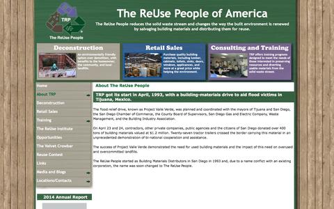 Screenshot of About Page thereusepeople.org - About The ReUse People | The ReUse People - captured Feb. 28, 2016