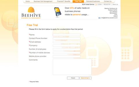 Screenshot of Trial Page beehive-solutions.com - Beehive Solutions - Business Call Management - Free Trial - captured Oct. 5, 2014