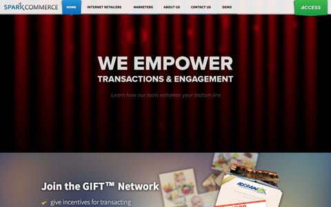Screenshot of Home Page About Page sparkcommerce.com - Spark Commerce - Giving Incentives for Transacting (GIFT) - captured Sept. 23, 2014