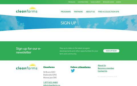 Screenshot of Signup Page cleanfarms.ca - Sign Up : Cleanfarms - captured Nov. 10, 2018
