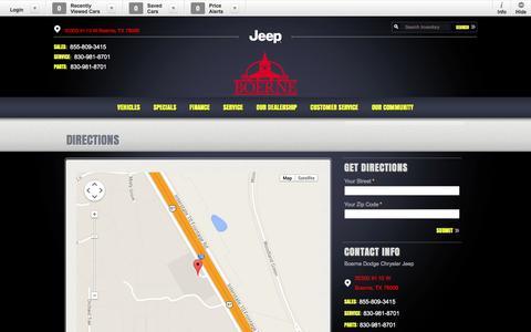 Screenshot of Maps & Directions Page boernedodgechryslerjeep.com - Boerne Dodge Chrysler Jeep | New Dodge, Jeep, Chrysler, Ram dealership in Boerne, TX 78006 - captured Oct. 29, 2014