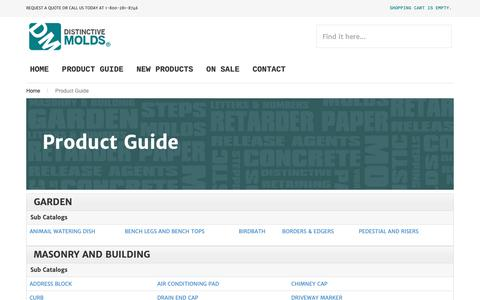 Screenshot of Products Page distinctivemolds.com - Product Guide - captured Nov. 6, 2018
