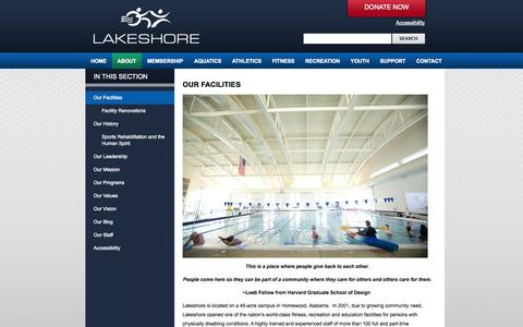 Screenshot of Hours Page lakeshore.org - Our Facilities | Lakeshore Foundation - captured Oct. 1, 2014