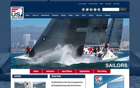 Screenshot of Home Page ussailing.org - United States Sailing Association | Home - captured Sept. 22, 2014