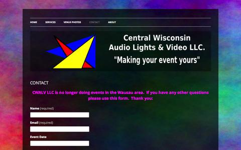 Screenshot of Contact Page cwalv.com - CONTACT | CENTRAL WISCONSIN AUDIO, LIGHTS, & VIDEO LLC - captured Oct. 2, 2014
