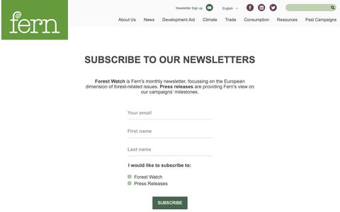 Screenshot of Signup Page fern.org - SUBSCRIBE TO OUR NEWSLETTERS | Fern - captured Oct. 10, 2018