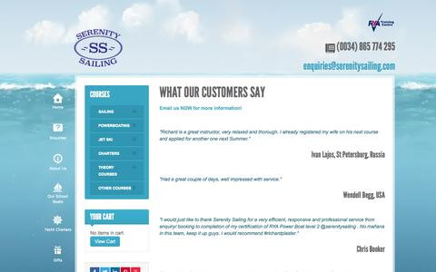 Screenshot of Testimonials Page serenitysailing.com - What Our Customers Say - captured Oct. 26, 2014