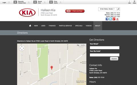 Screenshot of Maps & Directions Page halleenkia.com - Halleen Kia | Vehicles for sale in North Olmsted, OH 44070 - captured Oct. 1, 2014