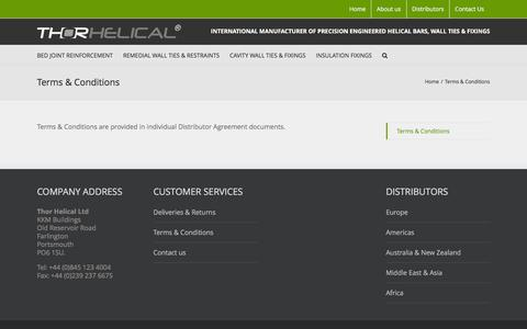 Screenshot of Terms Page thorhelical.com - Terms & Conditions - Thor Helical | Wall Ties | Helical Bars | Insulation Fixings | Europe | Asia | America | Australasia | South Africa - captured Feb. 29, 2016
