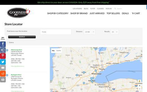 Screenshot of Locations Page goodnessme.ca - Goodness Me! - captured Nov. 12, 2016