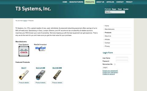 Screenshot of Products Page t3systemsinc.com - New, Used,  & Refurbished Cisco | Juniper | Extreme | HP - captured Oct. 7, 2014