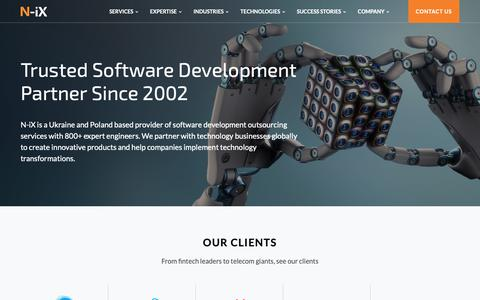 Screenshot of Home Page n-ix.com - Eastern European Software Development Outsourcing Provider - captured Jan. 16, 2019