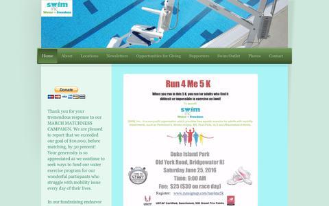 Screenshot of Home Page swim-inc.org - Swim-inc - Home - captured June 13, 2016
