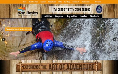 Screenshot of Home Page naelimits.co.uk - Outdoor Activity & Adventure Centres. Stag & Hen Group Days! White Water Rafting, Canyoning, Quad Biking and Gift Experience Vouchers | Nae Limits – Outdoor Adventures and Gift Experiences in Scotland - captured Oct. 7, 2014