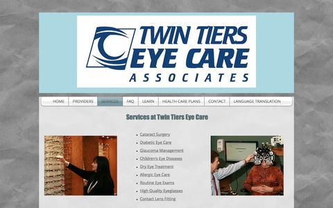 Screenshot of Services Page twintierseyecare.com - Twin Tiers Eye Care Associates - captured Nov. 3, 2017
