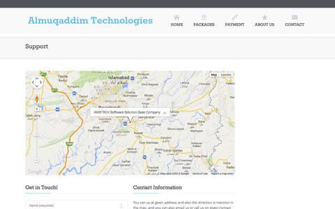 Screenshot of Contact Page Services Page Support Page ambtrek.com - Almuqaddim Technologies - captured Oct. 23, 2014