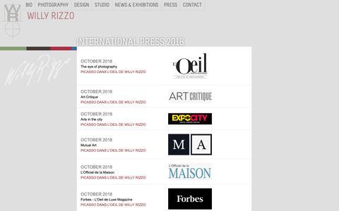 Screenshot of Press Page willyrizzo.com - PRESS 2018 - captured Oct. 25, 2018