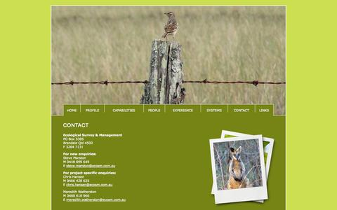 Screenshot of Contact Page ecosm.com.au - Ecological Survey & Management - captured Oct. 2, 2014