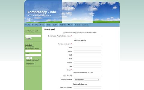 Screenshot of Signup Page kompresory-info.sk - Registrovať kompresory - info - captured Feb. 5, 2016