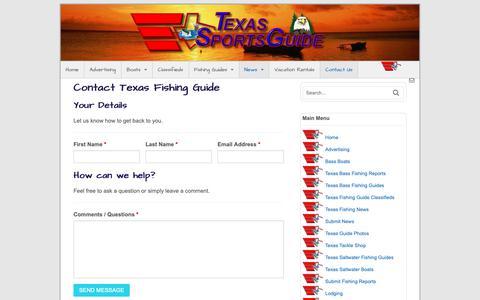 Screenshot of Contact Page texs.com - Contact Texas Fishing Guide   Texas Fishing Guide - captured Oct. 2, 2018