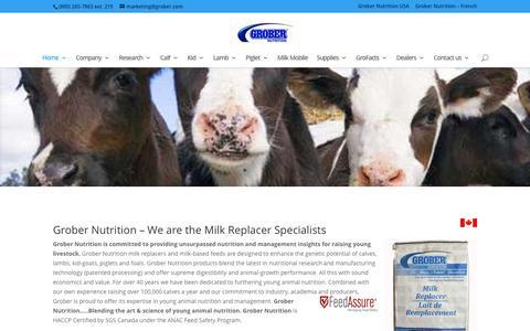 Screenshot of Home Page grobernutrition.com - Grober Nutrition - milk replacer specialists - captured Dec. 14, 2015