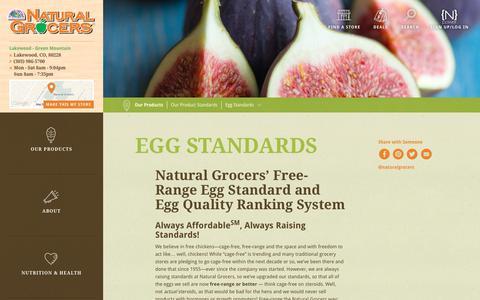 Screenshot of naturalgrocers.com - Egg Standards | Natural Grocers - captured Dec. 31, 2016