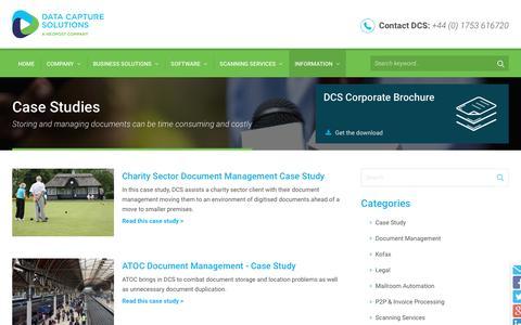 Screenshot of Case Studies Page dcs.co.uk - Case Studies Information - Data Capture Solutions UK - captured Feb. 8, 2016